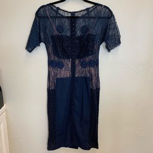 Dresses & Skirts - Unbranded Navy lace body con dress - popular style